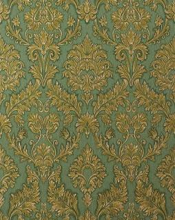 3D Barock-Tapete EDEM 708-38 Hochwertige Präge Tapete klassisch damask ornament edel-grün gold platin schattierung