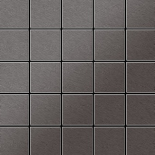 Mosaik Fliese massiv Metall Titan gebürstet in dunkelgrau 1, 6mm stark ALLOY Century-Ti-SB 0, 5 m2