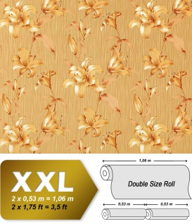 Vliestapete 3D Blumentapete Floral EDEM 978-36 Fühlbare Prägung hochwertig goldbeige karamell-braun gold 10, 65 qm
