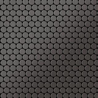 Mosaik Fliese massiv Metall Titan gebürstet in dunkelgrau 1, 6mm stark ALLOY Penny-Ti-SB 0, 88 m2