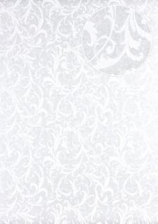 Barock Tapete Atlas PRI-523-5 Vliestapete glatt mit floralen Ornamenten schimmernd silber perl-weiß grau-weiß 5, 33 m2