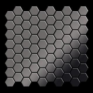 Mosaik Fliese massiv Metall Titan hochglänzend in dunkelgrau 1, 6mm stark ALLOY Honey-Ti-SM 0, 92 m2 - Vorschau 3