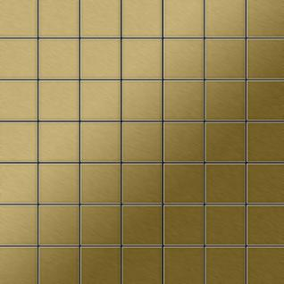 Mosaik Fliese massiv Metall Titan gebürstet in gold 1, 6mm stark ALLOY Attica-Ti-GB 0, 85 m2