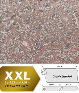 Blumen Tapete XXL Vliestapete EDEM 923-34 Elegantes florales Design Muster Metallic Effekt braun silber metallic 10, 65 m2