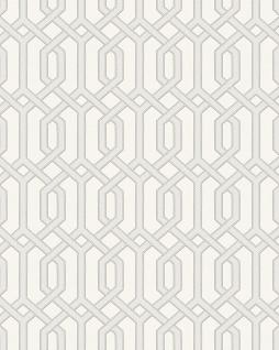 Grafik Tapete Profhome BA220011-DI heißgeprägte Vliestapete geprägt mit geometrischen Formen und metallischen Akzenten weiß creme-weiß silber 5, 33 m2