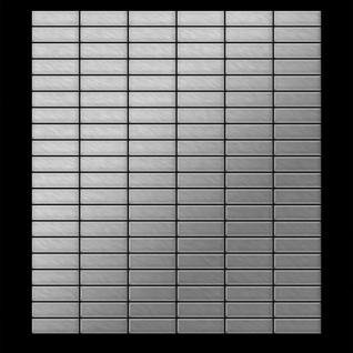 Mosaik Fliese massiv Metall Edelstahl gebürstet in grau 1, 6mm stark ALLOY Cabin-S-S-B 1, 01 m2 - Vorschau 3