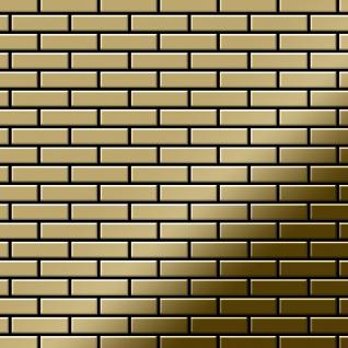 Mosaik Fliese massiv Metall Titan hochglänzend in gold 1, 6mm stark ALLOY PK-Ti-GM 0, 88 m2