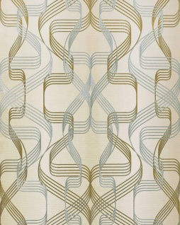 Grafik-Tapete EDEM 507-23 Designer Tapete strukturiert mit abstraktem Muster und metallischen Akzenten creme-weiß perl-gold silber 5, 33 m2
