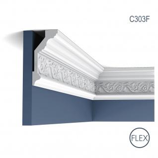 Eckleiste Orac Decor C303F LUXXUS flexible Leiste Zierleiste Deckenleiste Stuckgesims Blumen Dekor Leiste | 2 Meter