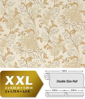 Blumen Tapete Vliestapete EDEM 604-93 Landhaus XXL stilvolles florales Muster mit Blättern beige braun 10, 65 qm