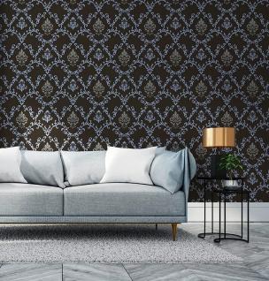 Barock Tapete EDEM 85026BR22 Vinyltapete glatt mit Ornamenten und metallischen Akzenten anthrazit dunkel-grau violett-blau silber 5, 33 m2 - Vorschau 5