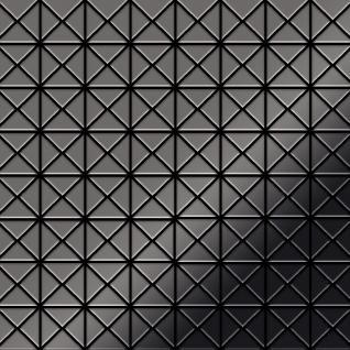 Mosaik Fliese massiv Metall Titan hochglänzend in dunkelgrau 1, 6mm stark ALLOY Deco-Ti-SM 1 m2