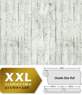 Holz Tapete EDEM 81108BR00 heißgeprägte Vliestapete leicht strukturiert im Shabby Chic Stil matt weiß grau anthrazit 10, 65 m2