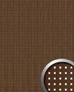Wandpaneel Quadrat Dekor Holz Design WallFace 12540 3D QUAD Wandplatte selbstklebend tabac-braun silber | 2, 60 qm