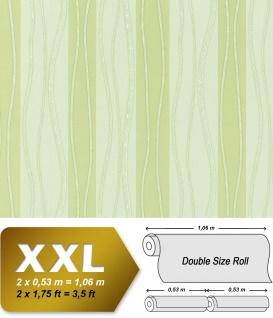 Streifen Vliestapete EDEM 955-28 XXL Tapete hochwertige geprägte Designer Tapete grün creme perlmutt 10, 65 qm