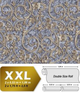 Barock Tapete EDEM 9016-37 Vliestapete geprägt mit floralen Ornamenten und metallischen Akzenten grau tauben-blau blau-grau bronze 10, 65 m2