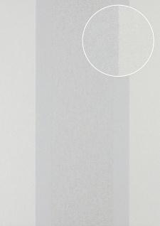 Streifen Tapete Atlas PRI-546-3 Vliestapete glatt in Textiloptik und Metallic Effekt creme perl-weiß silber weiß-aluminium 5, 33 m2