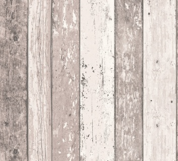 Holz Tapete Profhome 855053-GU Vliestapete glatt in Holzoptik matt braun creme 5, 33 m2