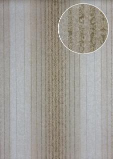 Streifen Tapete Atlas PRI-528-2 Vliestapete glatt im Barock-Stil schimmernd oliv oliv-grau khaki-grau beige-grau 5, 33 m2