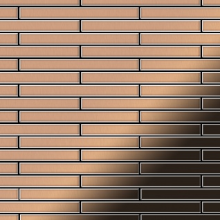 Mosaik Fliese massiv Metall Kupfer gewalzt in kupfer 1, 6mm stark ALLOY Avenue-CM 0, 74 m2