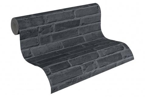 Stein Kacheln Tapete Profhome 942833-GU Vliestapete glatt in Steinoptik matt schwarz grau 5, 33 m2 - Vorschau 2