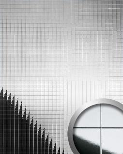 Wandverkleidung Wandpaneel WallFace 10644 M-Style Design Metall Mosaik Dekor selbstklebend spiegelnd silber 0, 96 qm