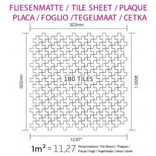 Mosaik Fliese massiv Metall Titan gebürstet in gold 1, 6mm stark ALLOY Swiss Cross-Ti-GB 0, 88 m2 - Vorschau 5
