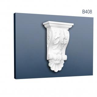 Stützkonsole Stuck Orac Decor B408 LUXXUS Konsole Wandboard Stuckgesims Akanthusblatt Wand Dekor Element weiß 40 cm hoch