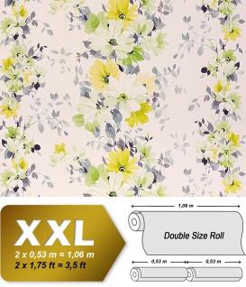 Blumen Tapete Vliestapete Landhaus Tapete EDEM 907-08 XXL Floral hochwertige Textiloptik Weiß gelb hellgrün grau 10, 65 qm