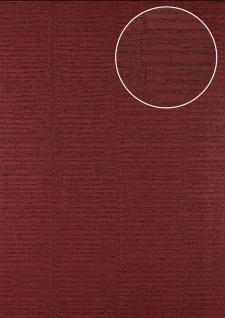 Streifen Tapete Atlas 24C-5054-2 Vliestapete strukturiert mit grafischem Muster und Metallic Effekt rot purpur-rot wein-rot 7, 035 m2