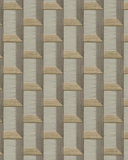 Grafik Tapete Profhome DE120073-DI heißgeprägte Vliestapete geprägt mit geometrischen Formen und metallischen Akzenten beige gold oliv-grau 5, 33 m2