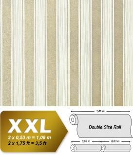 Streifen Tapete XXL Vliestapete EDEM 658-95 Elegante Blockstreifen Tapete grün creme dezente gold glitzer 10, 65 m2