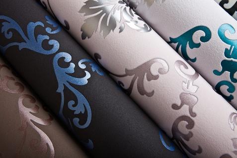 Barock Tapete EDEM 85026BR22 Vinyltapete glatt mit Ornamenten und metallischen Akzenten anthrazit dunkel-grau violett-blau silber 5, 33 m2 - Vorschau 2