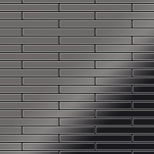 Mosaik Fliese massiv Metall Titan hochglänzend in dunkelgrau 1, 6mm stark ALLOY Deedee-Ti-SM 0, 78 m2