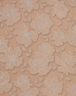 Blumen Tapete EDEM 173-36 Designer Floral Blumentapete Vinyltapete hell kakao-braun silber