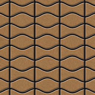 Mosaik Fliese massiv Metall Titan gebürstet in kupfer 1, 6mm stark ALLOY Kismet & Karma-Ti-AB Designed by Karim Rashid 0, 86 m2