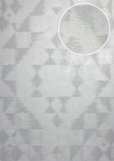 Ton-in-Ton Tapete ATLAS XPL-592-6 Vliestapete strukturiert mit geometrischen Formen schimmernd grau hell-grau licht-grau silber 5, 33 m2