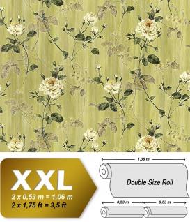 Vliestapete 3D Blumentapete EDEM 975-38 XXL Floral Rosen Tapete Vintage-Muster Barock grün olivegrün grau weiß 10, 65 qm