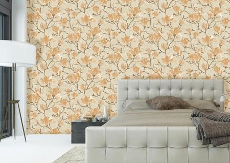 Blumen Tapete Atlas TEM-5110-4 HochwertigeVliestapete strukturiert mit grafischem Muster schimmernd grau grau-beige pastell-orange perl-beige 7, 035 m2 - Vorschau 3