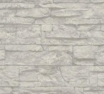 Stein Kacheln Tapete Profhome 707116-GU Vliestapete leicht strukturiert in Steinoptik matt grau weiß 5, 33 m2