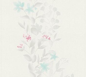 Blumen Tapete Profhome 372662-GU Vliestapete leicht strukturiert mit floralen Ornamenten matt grau blau 5, 33 m2