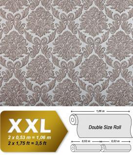 Barock Tapete EDEM 9014-39 Vliestapete geprägt mit Ornamenten glänzend silber creme-weiß grau 10, 65 m2