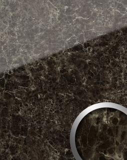 Wandpaneel Marmor Optik WallFace 19343 MARBLE EMPERADOR Wandverkleidung glatt in Naturstein Optik glänzend selbstklebend abriebfest braun braun-beige 2, 6 m2