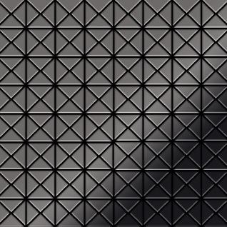 Mosaik Fliese massiv Metall Titan hochglänzend in dunkelgrau 1, 6mm stark ALLOY Deco-Ti-SM 0, 92 m2