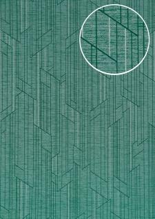Grafik Tapete ATLAS XPL-565-3 Vliestapete strukturiert mit geometrischen Formen schimmernd türkis türkis türkis-grün silber 5, 33 m2