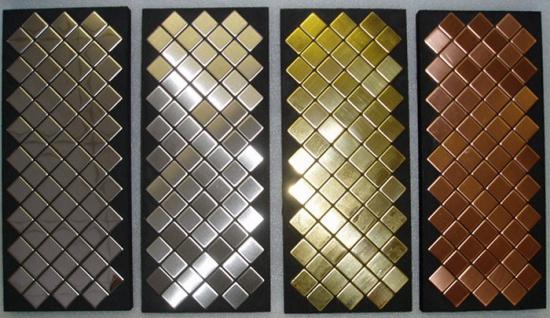 Mosaik Fliese massiv Metall Titan gebürstet in gold 1, 6mm stark ALLOY Diamond-Ti-GB 0, 91 m2 - Vorschau 4