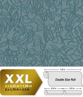 Blumen Tapete EDEM 9040-28 heißgeprägte Vliestapete geprägt mit floralem Muster glänzend blau 10, 65 m2