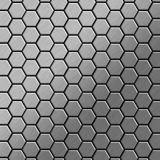 Mosaik Fliese massiv Metall Edelstahl gebürstet in grau 1, 6mm stark ALLOY Honey-S-S-B 0, 92 m2