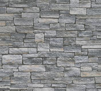 Stein Kacheln Tapete Profhome 958711-GU Vliestapete glatt in Steinoptik matt grau schwarz 5, 33 m2