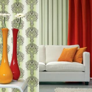3D Barock Tapete EDEM 096-25 Tapete Damask prunkvolle Ornament-Designs grün hellgrün weiß gold silber schwarz   5, 33 qm - Vorschau 4